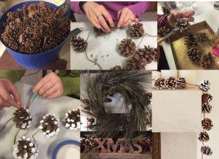How to make pine cone garland